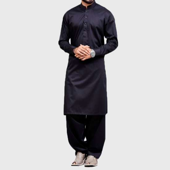 Black Plain Cotton Shalwar KAmeez