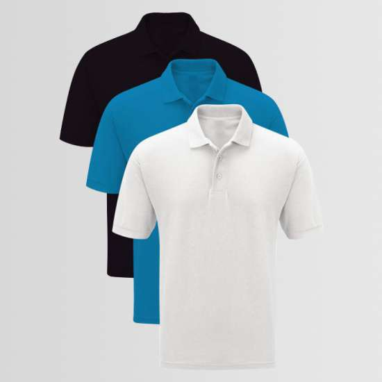 Bundle Of 3 Plain Polo T-Shirts