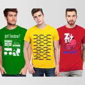 Pack Of 3 Printed Round Neck T-Shirts
