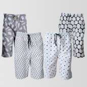 Bundle of 4 Casual Cotton Shorts (CS-112) (Assorted Designs)