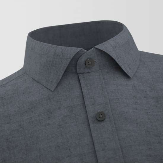 Grey Chambray Contrast Formal Shirt