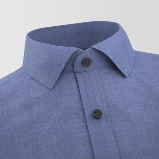 Blue Chambray Contrast Formal Shirt