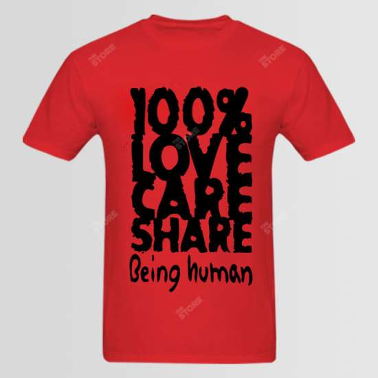 100% Love Care Share Being Human Logo T-Shirt