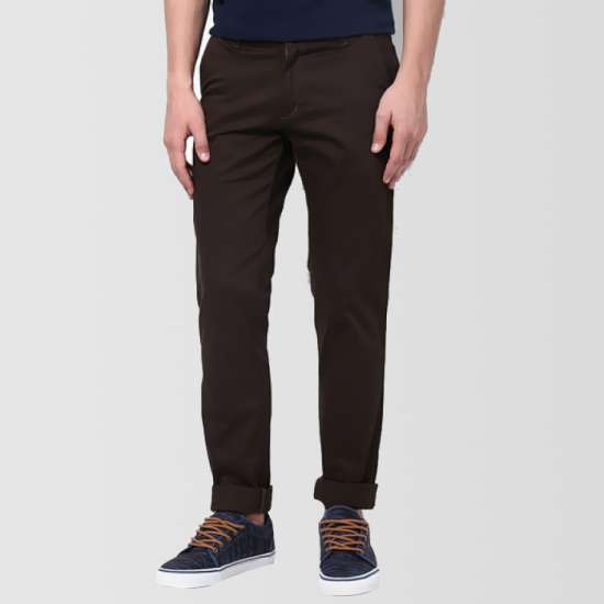 Solid Coffee Slim Fit Trouser