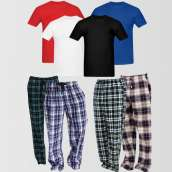 Bundle of 4 Casual Pajamas And 4 Plain T-Shirts