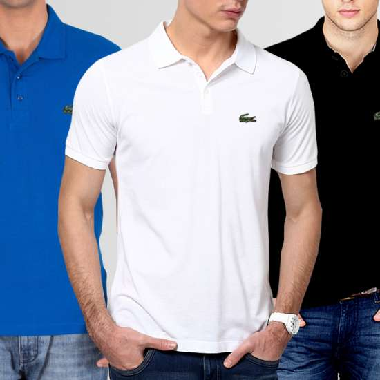 Bundle of 3 Polo Lacoste Logo T-Shirts (Available In 11 Colors)