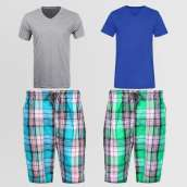 Bundle Of 2 Casual Cotton Short And 2 V Neck T-Shirt