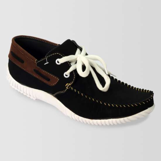 Black & White Casual Shoes With Brown Contrast