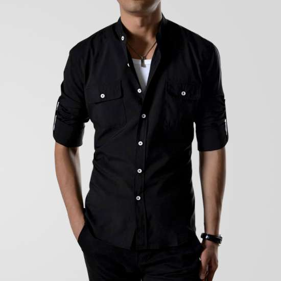 Black Casual Shirt With White Buttons