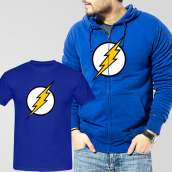 Blue Fleece Zipper Hoodie With Flash T-Shirt