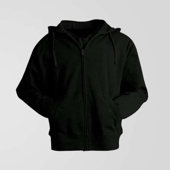 Black Fleece Zipper Hoodie