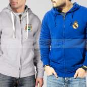 Soccer Hoodies Bundle of Two : Grey Manchester City + Blue Real Madrid