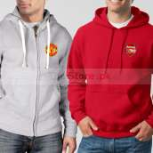 Soccer Hoodies Bundle of Two : Grey Manchester United + Red Arsenal