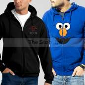 Bundle of 2 Zipper Hoodies: Black Man of Steel + Blue Elmo Face