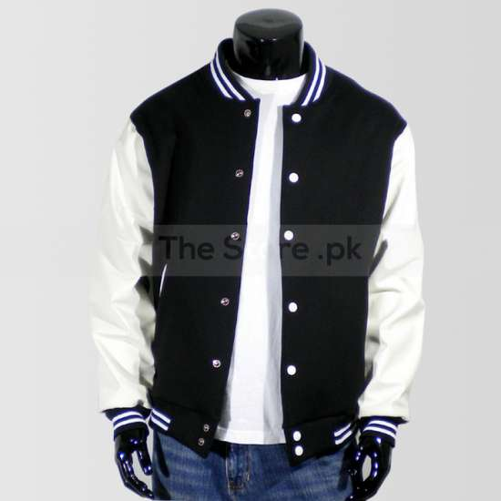 Black Baseball Jacket with White Sleeves