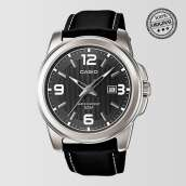 Grey Dial Black Leather Strap Mens Watch