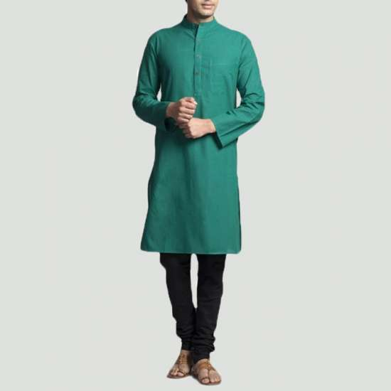 Green Plain Kurta With Black Trouzer