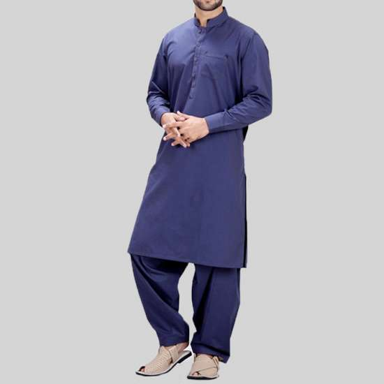 Navy Blue Cotton Shalwar Kameez