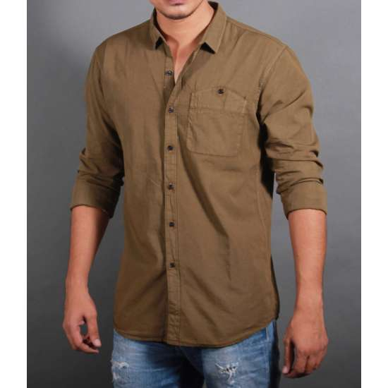 Brown Poplin Washed Casual Shirt