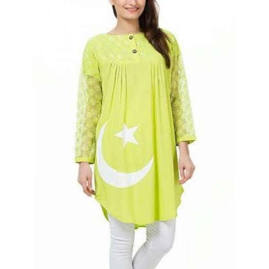 Lime Green Chand Sitara Kurti for Women