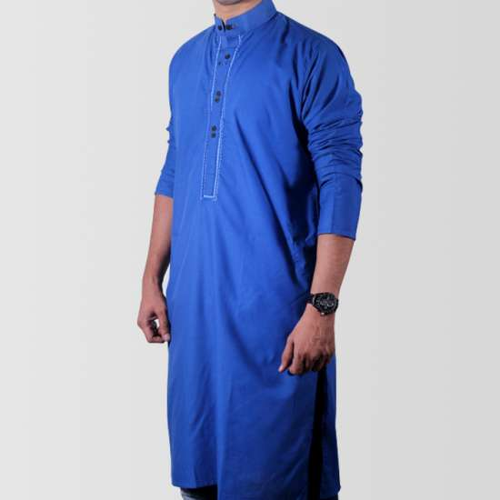 Royal Blue Cotton Kurta For Men