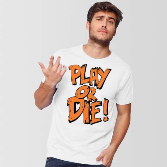 White Play Or Die Round Neck T-Shirt