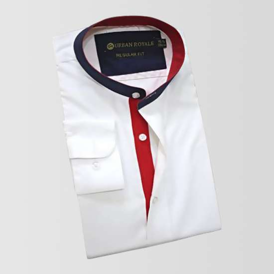 White Shirt with Red And Black contrass