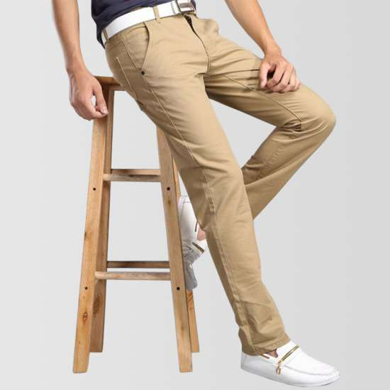 Khaki Slim Fit Cotton Jeans