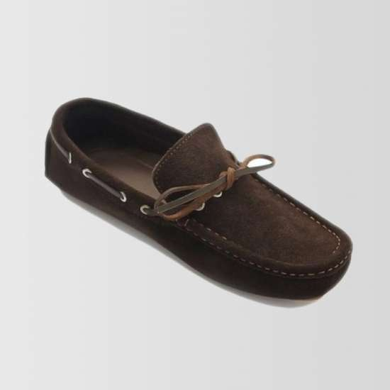 Brown Suede Loafers With Lace Up Design