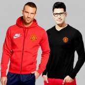 Red Fleece Manchester United Hoodie With Full Sleeves T-Shirt