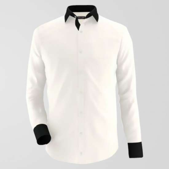 Beige & Black Formal Shirt