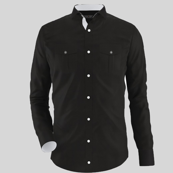 Solid Black Formal Shirt With Two Front Pocket - Thestore.pk