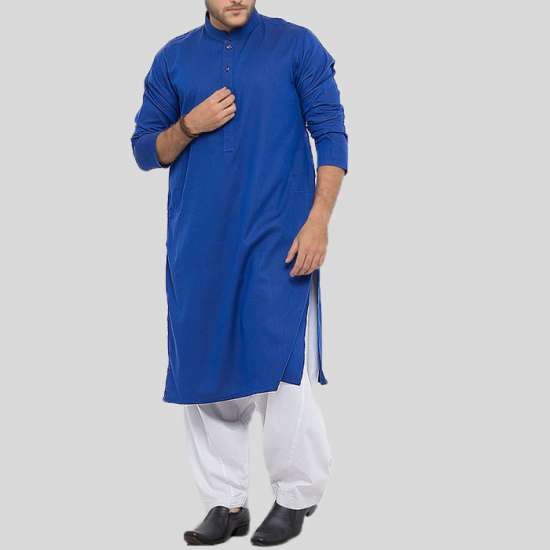 Navy Blue Kurta With White Shalwar