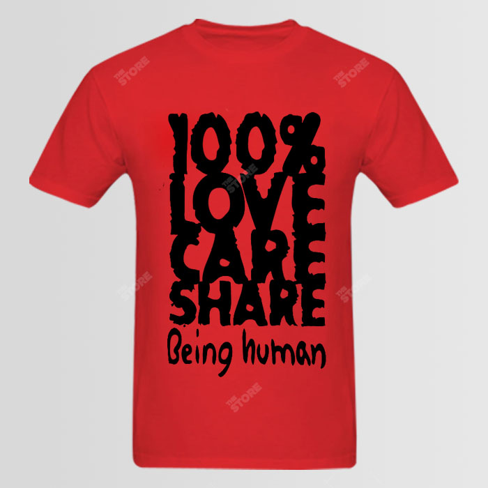 100 love care share being human logo tshirt thestorepk