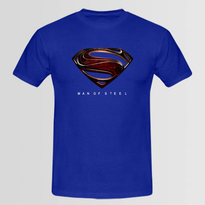 Man of steel logo t shirt available in 8 colors for Custom t shirts manchester ct