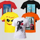 Graphic T-Shirt Bundle Of Five B-2 (Available In Different Colors And Design)
