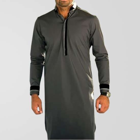 Grey Stylish Titanium Cotton Kurta