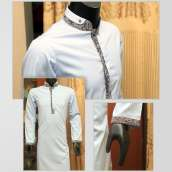 White Titanium Cotton Shalwar Kameez With Texture Design Contrast