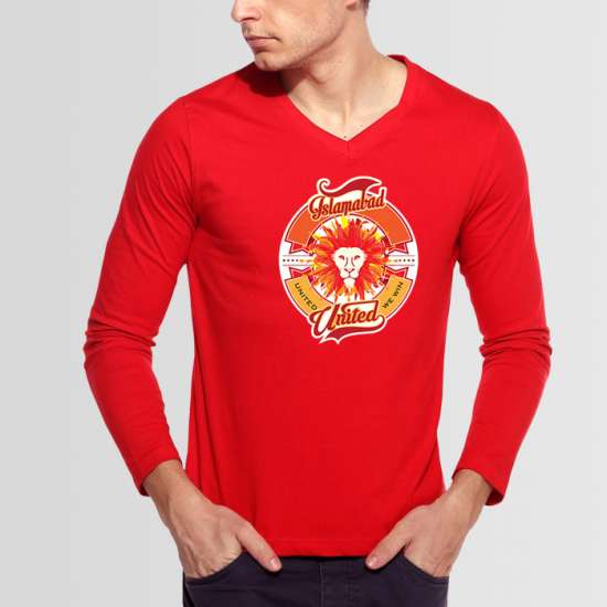 Red Islamabad United PSL V-Neck Full Sleeves T-Shirt