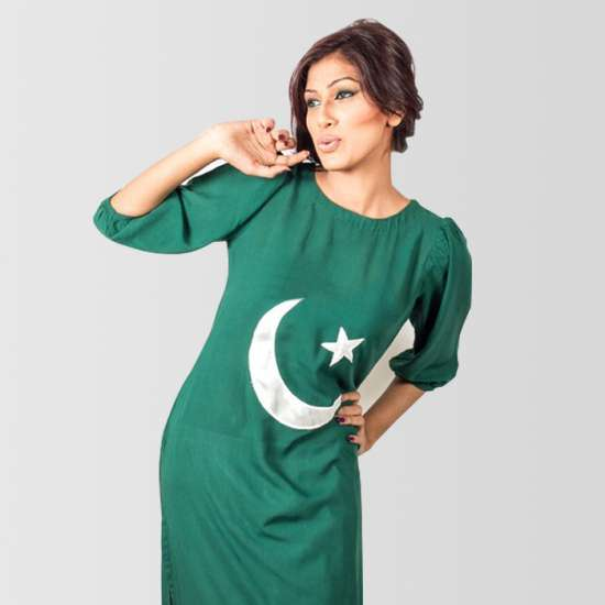 Pakistani Flag Long Kurti for Women with Crescent