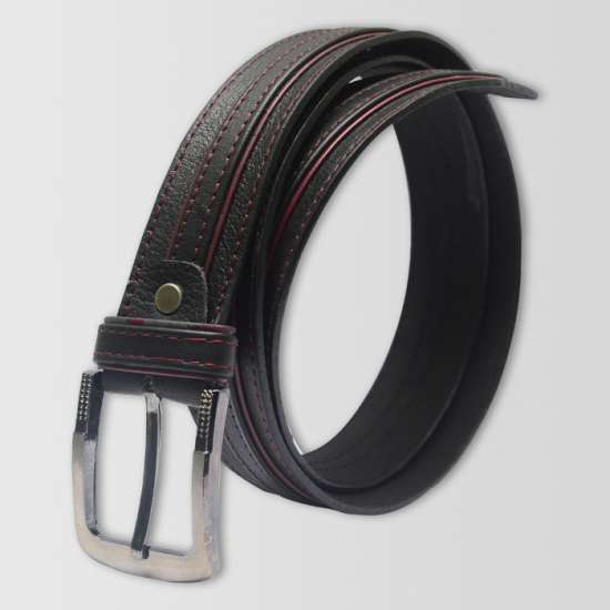 Black Maroon Original Cow Leather Men's Belt