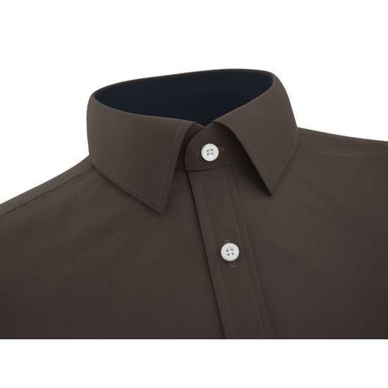 Dark Brown Formal Shirt With Black Contrast