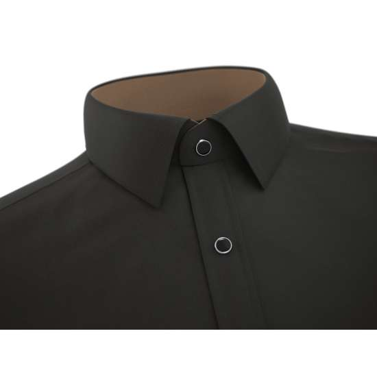 Black Casual Shirt With Brown Contrast