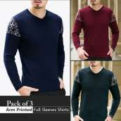 Pack Of 3 Arm Printed Full Sleeves T-Shirts