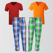 Bundle Of 2 Casual Pajamas And 2 V Neck T-shirt