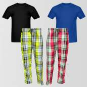 Bundle Of 2 Casual Pajamas And 2 Round Neck T-Shirt
