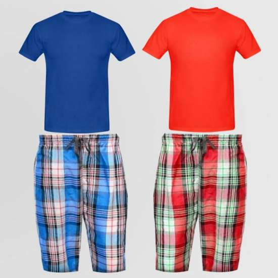 Bundle OF 2 Casual Cotton Shorts and 2 Round Neck T-Shirt