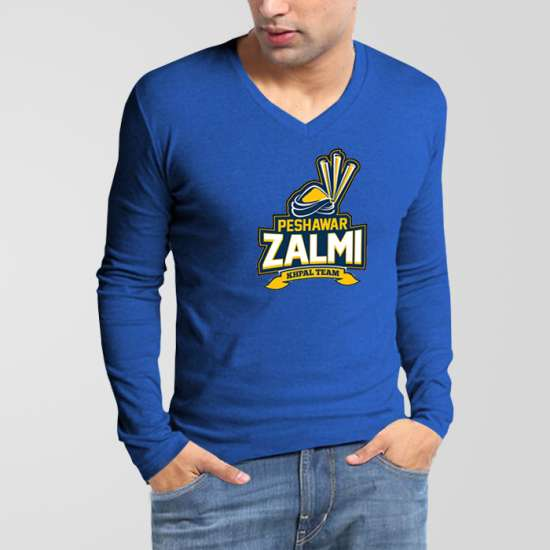 Peshawar Zalmi PSL V-Neck Full Sleeves T-Shirt