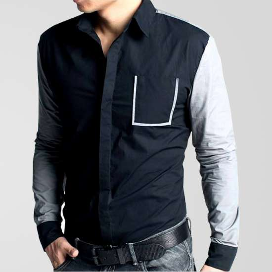 Black Casual Shirt With Grey Sleeves