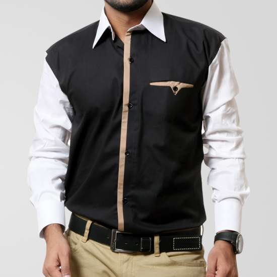 Black Casual Shirt With White Sleeve